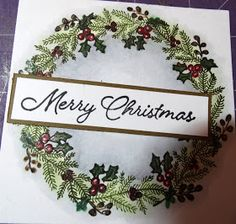 Kimber Kreations: stamping a perfect wreath Stamped Christmas Cards, Homemade Christmas Cards, Christmas Cards To Make, Christmas Makes, Xmas Cards, Homemade Cards, Handmade Christmas, Holiday Cards, Greeting Cards