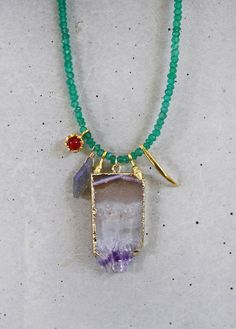 Emerald Green Onyx Charmed Necklace by shopkei on Etsy, $86.00