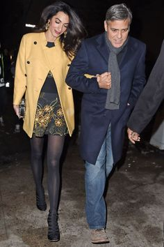 Amal Clooney Glows on Date Night with George in NYC - Celebrity Street Style Amal Clooney, George Clooney, Amal Alamuddin Style, Night Looks, Red Carpet Dresses, Cute Couples, Power Couples, Fashion Outfits, Fashion Trends
