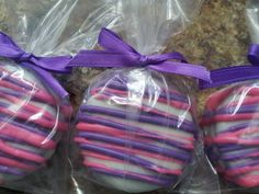 Pink & Purple Drizzle Chocolate Covered Oreos - Doc McStuffin Cookies, Pink and Purple Party Favors by SugarMamasChocolates on Etsy https://www.etsy.com/listing/155323354/pink-purple-drizzle-chocolate-covered