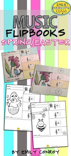 """Spring and Easter Music Flipbooks are such a cute activity for elementary music students or homeschool kids! Students color, cut, and glue the craft together and then write the name of each line or space note under the corresponding flap. The four letters under each flap spell a """"secret word"""" which I use as an exit ticket for the day!"""