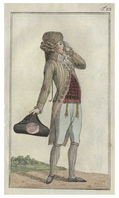 Journal des Luxus, 1788.  Wow. This is a guy who is NOT afraid to combine color and patterns! Also, I'm pretty sure his coat and waistcoat are trimmed with fringe, which is pretty incredible.