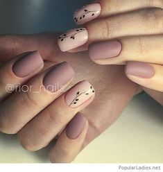 Nude matte nails with flowers