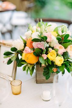 Bright Centerpieces with Oranges | Brides.com