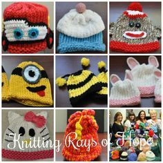 Cute Baby Hats - A Gallery of Pictures of Loom knit Baby and Toddler hats great Project ideas and FREE Pattern. Plus learn about the Great Loom Knitters