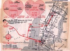 Historical Map: Hudson & Manhattan Railroad, c. 1950-1953 A great old map promoting the use of the H&M tubes (now known as PATH) for rapid access to Manhattan and beyond (Ebbets Field, Coney Island!). Although undated at the original source of the...