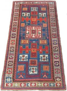 Antique Caucasian Karatchoph (Karachov or Karatchopf) Kazak Rug, 4 x 7.5 ft (122x230 cm), 19th century