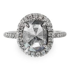 3.55 Carat Speckled Grey Diamond Halo Engagement Ring, 14K White Gold