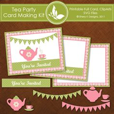 Shery K Designs: Free Tea Party Invitation Card making Kit Tea Party Invitations, Invitation Cards, Invites, Photo Invitations, Card Making Kits, Making Ideas, Tea Party Birthday, Third Birthday, Birthday Ideas