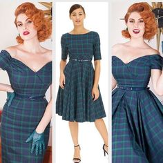 Shop our Forest and Navy Tartan print dresses as they are perfect for the winter.  As seen here on @dorismayday and our model. Our Fatale Forest and Navy Tartan Pencil dress, Our Hepburn in Forest and Navy Tartan and our Fatale Forest and Navy Tartan Prom dress are all available at www.theprettydresscompany.com, Link is in our bio.