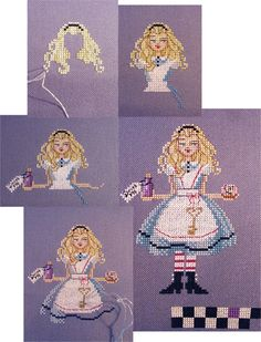 Alice from Brooke's Books Wonderland Cross Stitch Collection by Brooke Nolan… Beaded Cross Stitch, Simple Cross Stitch, Cross Stitch Charts, Cross Stitch Designs, Cross Stitch Embroidery, Embroidery Patterns, Cross Stitch Patterns, Alice In Wonderland Cross Stitch, Wonderland Alice