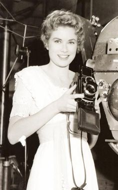 """Grace Kelly behind the scenes of """"The Swan"""", 1955."""