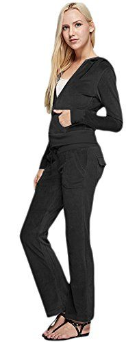 Marilyn  Main Womens Active 2Piece Velour Hoodie and Pants Suit Set Small Black -- Check out this great product.
