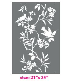 Classic look Bird on the tree grate kids nursery room home decor Wall Allover Designer Pattern Stencil better than wallpaper or vinyl decals - Thumbnail 1