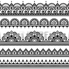 Mehndi, Indian Henna tattoo seamless pattern, design elements by RedKoala great for a border stencil on painted subfloor Henna Tattoo Designs, Mehndi Designs, Indian Henna Designs, Henna Designs White, Ankle Henna Designs, Henna Designs Drawing, Henna Designs On Paper, Traditional Henna Designs, Tribal Designs