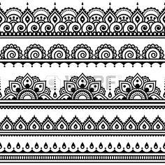 Mehndi Indian Henna Tattoo nahtlose Muster Design Elemente Lizenzfreie Bilder