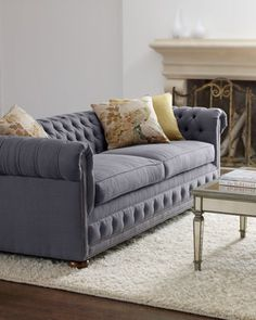 """Quinn"" Tufted Sofa by Old Hickory Tannery at Horchow."