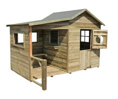 Rustic style wooden outdoor playhouse, complete with covered verandah!  Cabane en bois pour enfants Hacienda CERLAND.
