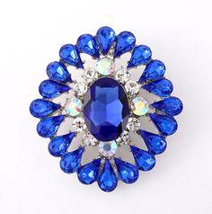 cake decoration broach Dark blue bridal brooch Blue Wedding Brooches Rhinestone sapphire Blue Broaches Blue wedding Royal Blue Brooches