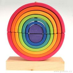 Nasouvací skládačka 2duhy, 14dílů - Grimm's Arco Iris Waldorf, Grimm, Tech Logos, Wood Toys, Natural Wood