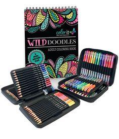 ColorIt Starter Pack - Wild Doodles, 48 Gel Pen Set, 48 Pencil Set