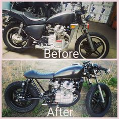 The cx500 project before and after...#caferacer #hondamotorcycles #garagebuilt #custombike #motorcycle #vintagemotorcycle #vintage #lakecaferacers #cx500cafe #cx500 #caferacerdreams #beforeandafter