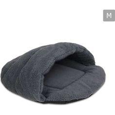 Medium Ultra-Soft Cave Style Fleece Pet Bed in Grey