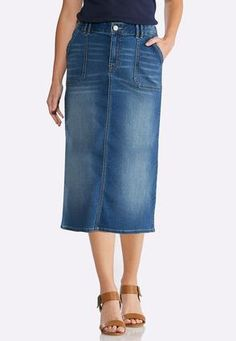 da4263b6c99 Cato Fashions Plus Size Patch Pocket Denim Skirt  CatoFashions Cato Fashion  Plus Size