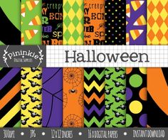 Halloween Digital Paper by Pininkie on @creativemarket