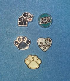 Various Dog Charms *Black Dog Charm *Dog Mom Charm *Black Paw Print Charm *In Memory Of Charm with Paw Print *Cream Paw Print Charm