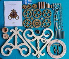 Wooden mechanical table clock kit