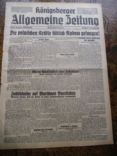 Original-Zeitung aus Königsberg / Ostpreußen *13.9.1939* Ortelsburg,Wehlau,Lyck