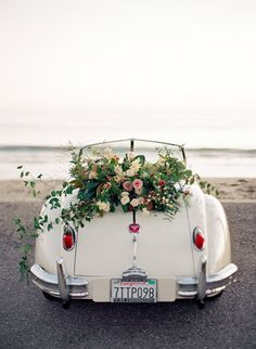 Dos Pueblos Ranch Wedding - Samantha and Patrick - Jose Villa Fine Art Weddings Wedding Bells, Wedding Flowers, Bridal Car, Wedding Car Decorations, Dream Wedding, Wedding Day, Flower Aesthetic, Flower Arrangements, Beautiful Flowers