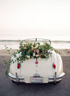 Dos Pueblos Ranch Wedding - Samantha and Patrick - Jose Villa Fine Art Weddings Bridal Car, Wedding Car Decorations, Dream Wedding, Wedding Day, Flower Aesthetic, Wedding Bells, Beautiful Flowers, Marie, Wedding Photography