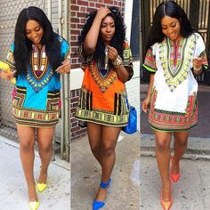 Fashion Women's Traditional African Print Dashiki Dress Short Sleeve Party Dress  $25.00
