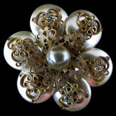 Beautiful, Vintage, Faux Pearl Brooch – Signed Miriam Haskell