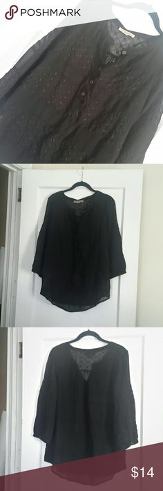 BOGO FREE??Black Sheer Eyelet Top - 5 buttons down front - 1 button at cuffs Nine West Tops Blouses