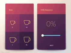 This is how you make your personal coffee with a coffee machine app. I've designed an interface that allows you to choose your cup size, your favourite milk type and also to adjust the milk balance...