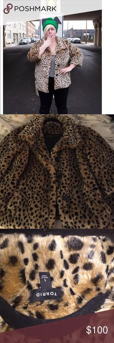 Torrid Size 1 Faux Leopard Coat EUC I love this coat! But, I think it's time she found a better home. It's very cold here and not practical to wear 3/4 length sleeves. It is very warm, but too warm for me in the few weeks we have of cool-not-cold weather. It's in perfect condition. It's dry clean only and has never been cleaned, but I've only worn it twice and I don't smoke or go places where they do. I have a great bundle discount or you can shoot a REASONABLE offer. No trades, lowballers…