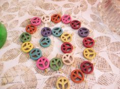 Destasch Peace Symbol Charms Colorful Stone by LeapingFrogDesigns, $5.00