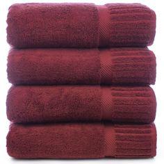 Luxury Hotel & Spa Towel 100% Genuine Turkish Cotton Bath Towels - Cranberry - Piano - Set of 4