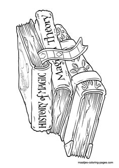 Harry Potter History Of Magic Books Coloring Page