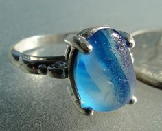 HL Sea Glass & Beach Glass Jewelry, beautiful shades of blue sea glass ring.