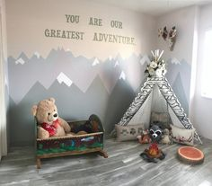 Woodland tribal playroom theme with teepee and mountain walls #mountain #walls #teepee #tribal #playroom #kids #bedroom