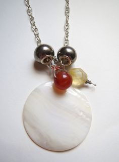 Red Agate, Lemon Chalcedony, and large Shell pendant necklace on silver chain.