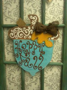 Fall Acorn Door Hanger by YDoodleDesigns on Etsy, $45.00