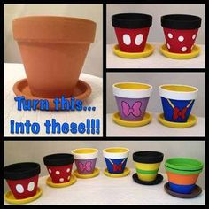 10 Easy Disney DIY projects - Disney in your Day Mickey Mouse Flower Pots Clay Pot Crafts, Diy And Crafts, Crafts For Kids, Disney Diy Crafts, Diy Disney Decorations, Disney Crafts For Adults, Easy Crafts, Disney Art Diy, Outdoor Decorations