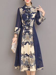 Shop linen dresses navy blue a line buttoned paneled floral printed long sleeve midi dress online discover unique designers fashion at stylewe com Blue Dress Casual, Casual Dresses, Fashion Dresses, Long Sleeve Midi Dress, Floral Midi Dress, Model Dress Batik, Modern Batik Dress, Batik Long Dress, Dress Long