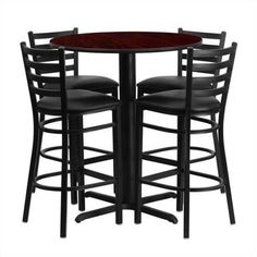 Flash Furniture 30'' Round Mahogany Laminate Table Set with 4 Ladder Back Metal Barstools, Black Vinyl Seat Black, Mahogany