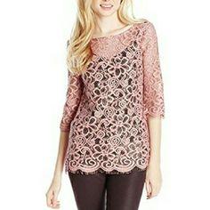 Pink Lace 3/4 Sleeve Top Scalloped bottom. Sweet open back tie. BB Dakota Tops Blouses